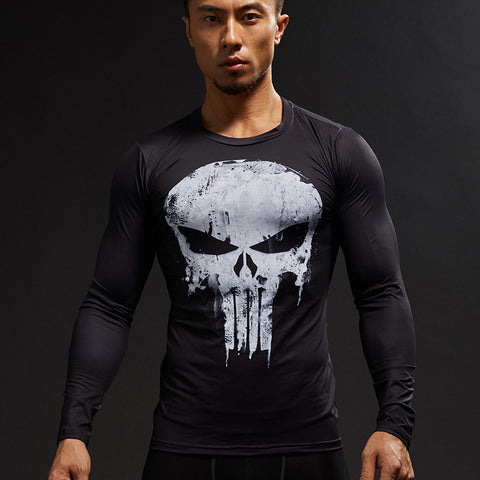 Men's Compression 3D Printed Long Sleeve Fitness Shirts