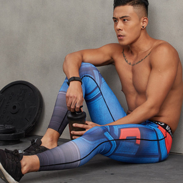Men's Leggings,  Men's 3D Printed Pattern Compression Tights Pants, Men's Fitness Leggings