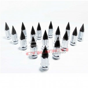 3/8 x 24 Chrome Lug Nuts with Anodized Aluminum Spikes - 16 Pack