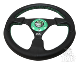 Bad Ass Unlimited Black Suede Steering Wheel with Red Stitching