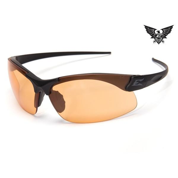 Edge Tactical Eyewear Sharp Edge Thin Temple - Matte Black Frame / Tigers Eye Lens