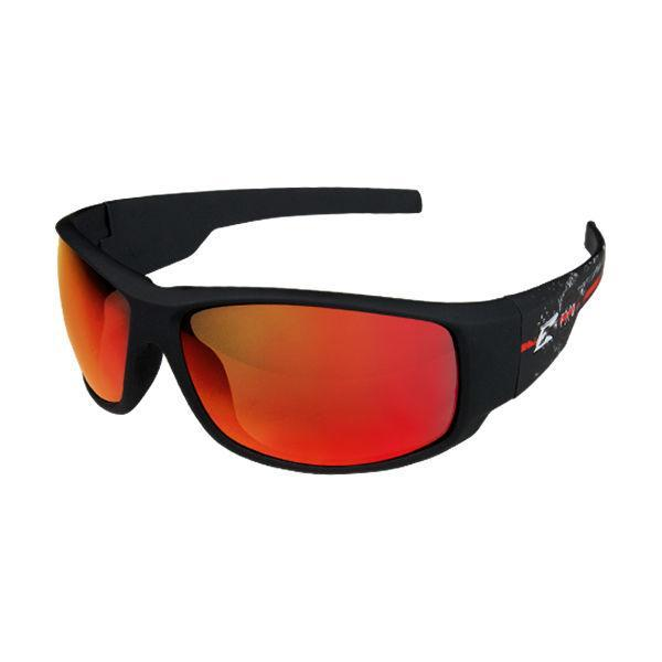 Edge Tactical Eyewear Legends Strike Team - Soft-Touch Black & Red Frame / Aqua Precision Black Mirror Lens