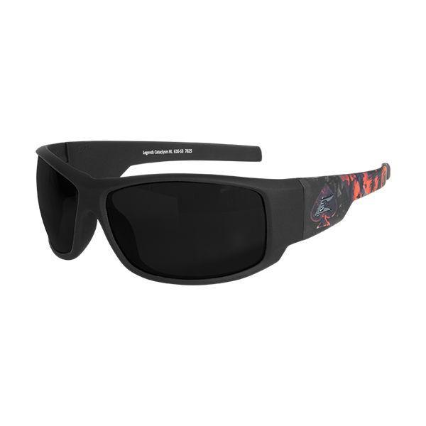 Edge Tactical Eyewear Legends Cataclysm - Soft-Touch Black & Red Frame / Smoke Vapor Shield Lens