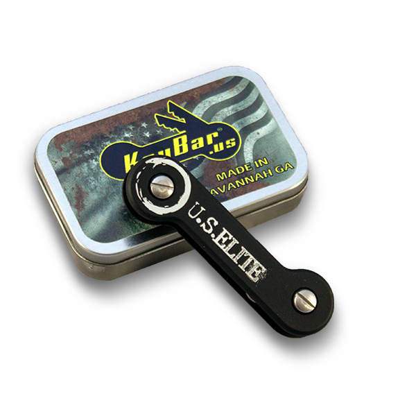 US Elite's Custom Black KeyBar shown with hinged tin that contains the accesories