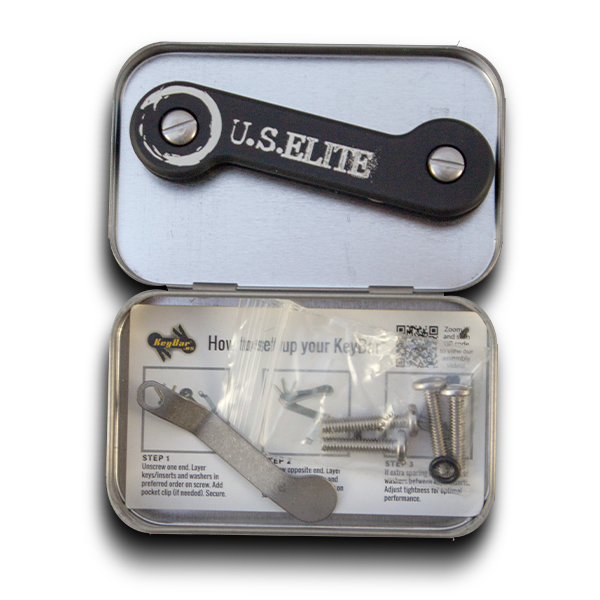 US Elite Black KeyBar shown in hinged tin with instructions titanium clip and screws