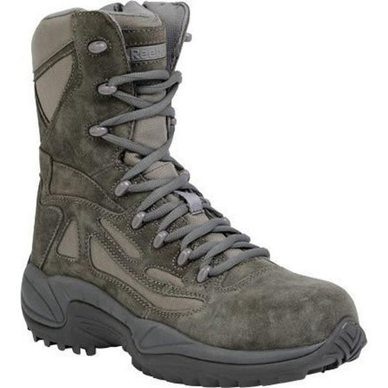 "Reebok RB8990 Men's Rapid Response RB Stealth 8"" Boot with Side Zipper - Sage Green"