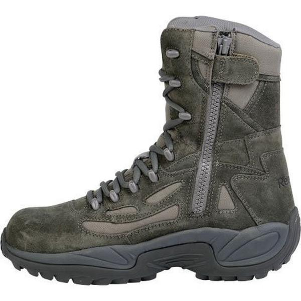 "Reebok RB899 Women's Rapid Response RB Stealth 8"" Boot with Side Zipper - Sage Green"