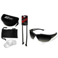Edge Tactical Eyewear Acid Gambit 2 Lens Kit - Soft-Touch Matte Black Frame / Polarized Gradient Smoke, Clear Vapor Shield Lenses