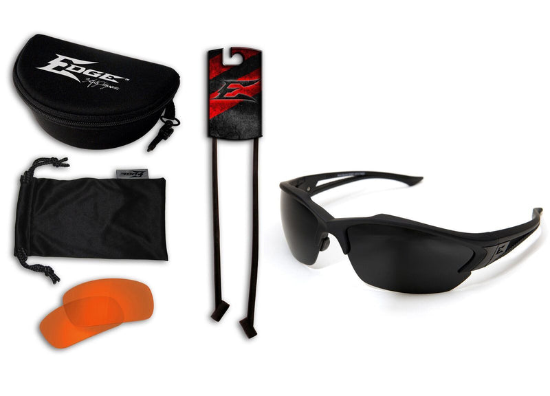 Edge Tactical Eyewear Acid Gambit 2 Lens Kit - Soft-Touch Matte Black Frame / Tiger's Eye Vapor Shield, G-15 Vapor Shield Lenses