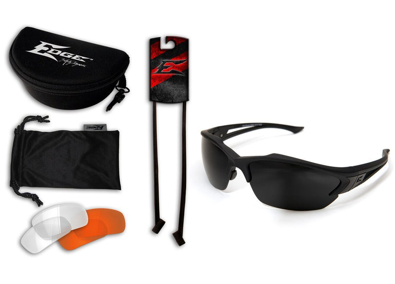 Edge Tactical Eyewear Acid Gambit 3 Lens Kit - Soft-Touch Matte Black Frame / Clear Vapor Shield, Tiger's Eye Vapor Shield, G-15 Vapor Shield Lenses
