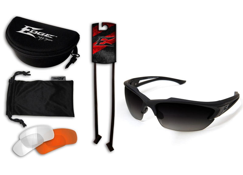 Edge Tactical Eyewear Acid Gambit 3 Lens Kit - Soft-Touch Matte Black Frame / Polarized Gradient Smoke, Clear Vapor Shield, Tiger's Eye Vapor Shield Lenses