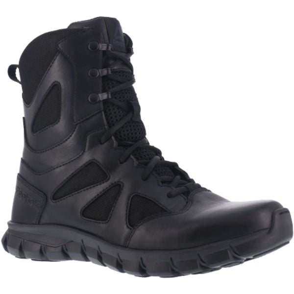 "Reebok RB8805 Men's Sublite Cushion 8"" Soft Toe Tactical Boot with Side Zipper - Black"