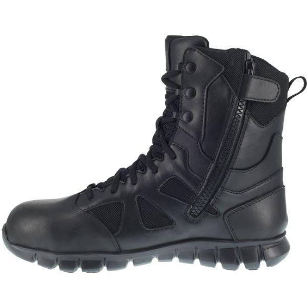 "Reebok RB8807 Men's Sublite Cushion 8"" Composite Toe Waterproof Boot With Side Zipper - Black"