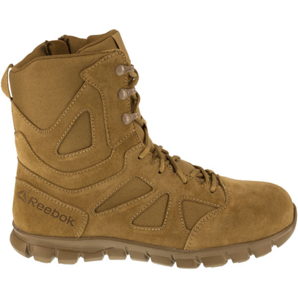 "Reebok RB8809 Men's Sublite Cushion  8"" Composite Toe Tactical Boot with Side Zipper - Coyote"
