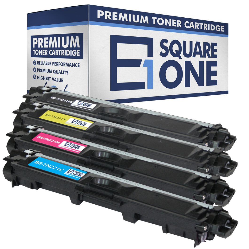 eSquareOne Compatible Toner Cartridge Replacement for Brother TN221BK TN221C TN221M TN221Y (Black, Cyan, Magenta, Yellow)