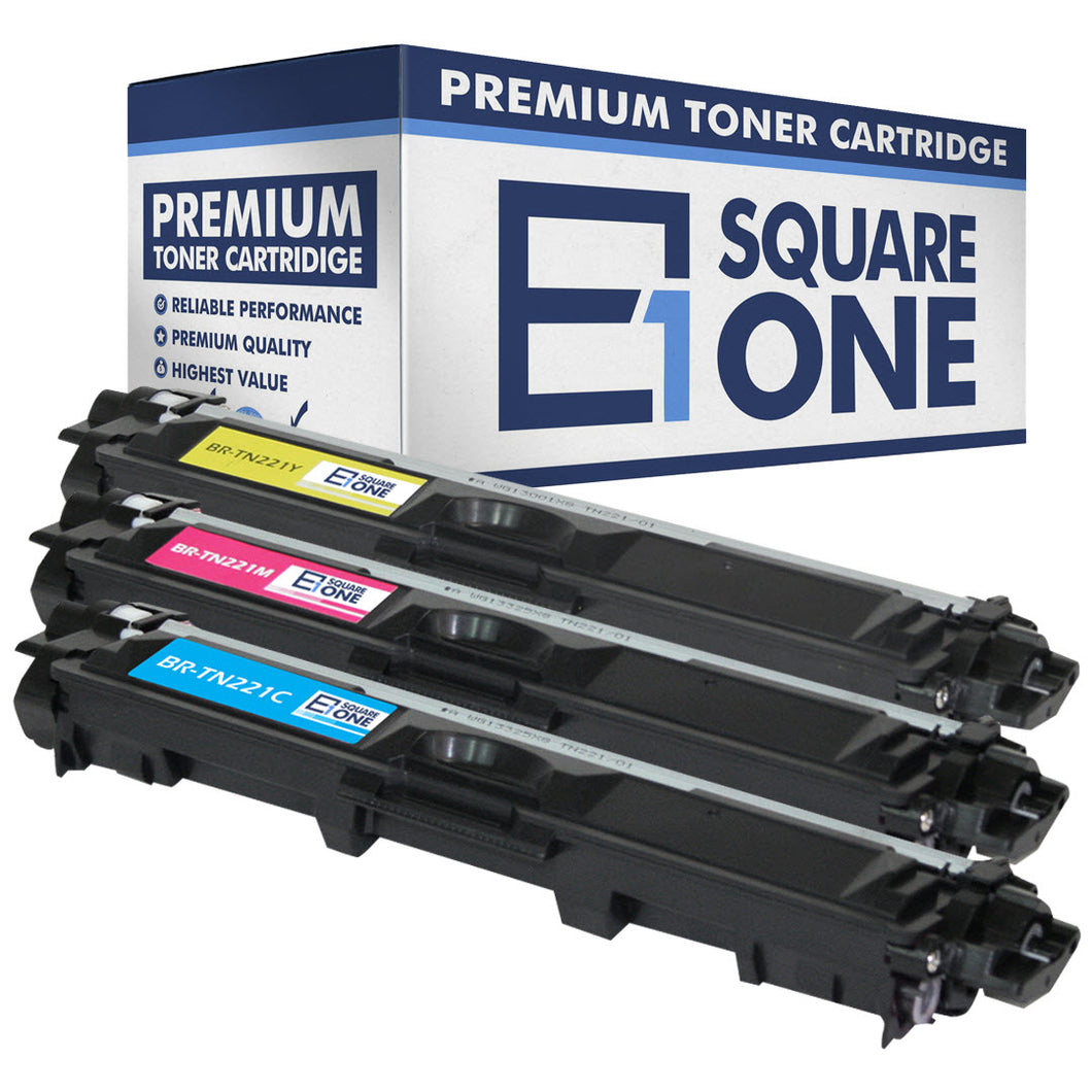 eSquareOne Compatible Toner Cartridge Replacement for Brother TN221C TN221M TN221Y (Cyan, Magenta, Yellow)