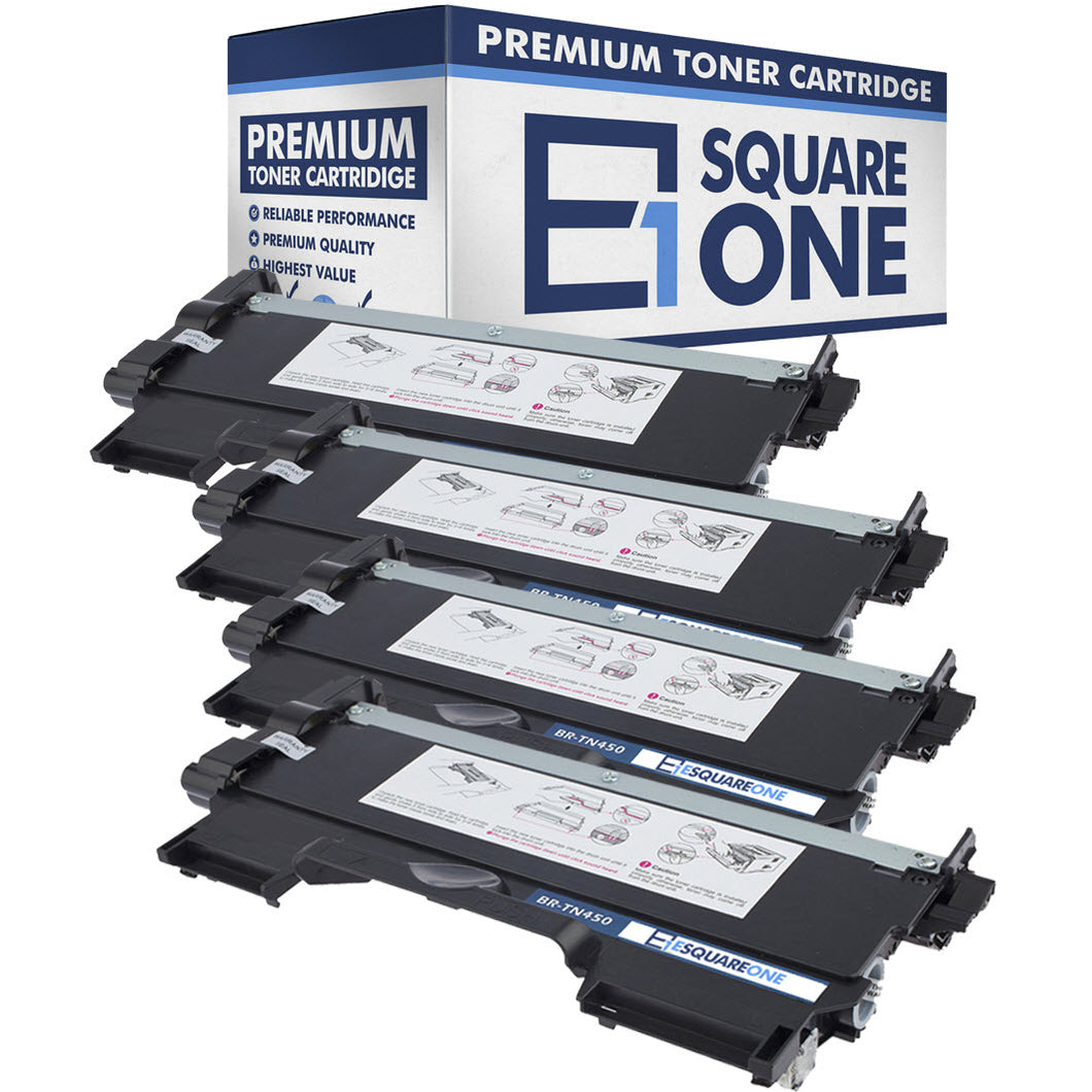 eSquareOne Compatible High Yield Toner Cartridge Replacement for Brother TN420 TN450 (Black, 4-Pack)