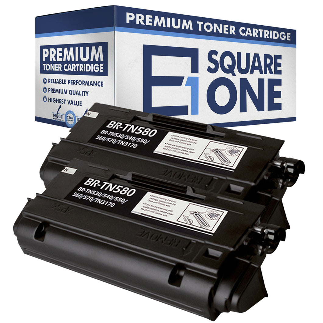 eSquareOne Compatible High Yield Toner Cartridge Replacement for Brother TN530 TN540 TN550 TN560 TN570 TN580 (Black, 2-Pack)
