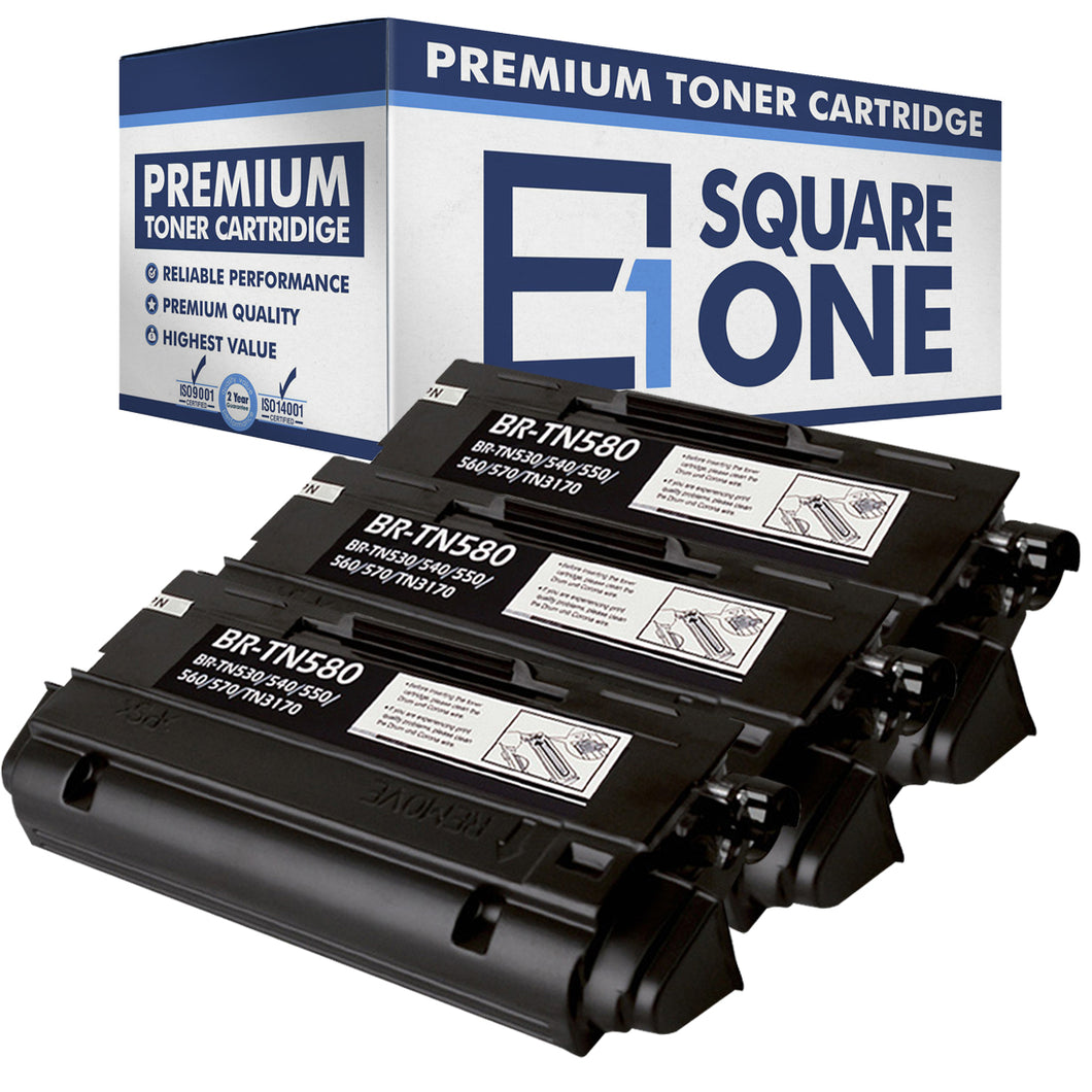 eSquareOne Compatible High Yield Toner Cartridge Replacement for Brother TN530 TN540 TN550 TN560 TN570 TN580 (Black, 3-Pack)