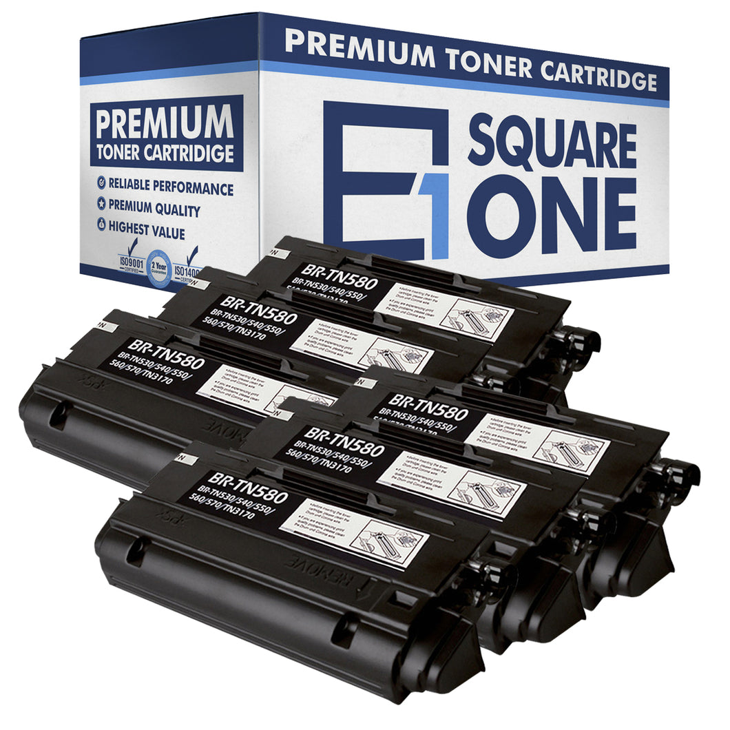 eSquareOne Compatible High Yield Toner Cartridge Replacement for Brother TN530 TN540 TN550 TN560 TN570 TN580 (Black, 6-Pack)