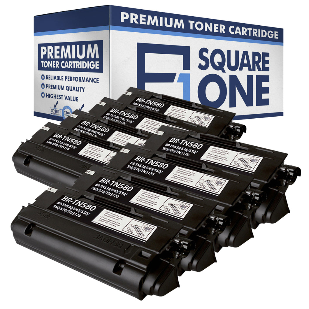 eSquareOne Compatible High Yield Toner Cartridge Replacement for Brother TN530 TN540 TN550 TN560 TN570 TN580 (Black, 8-Pack)