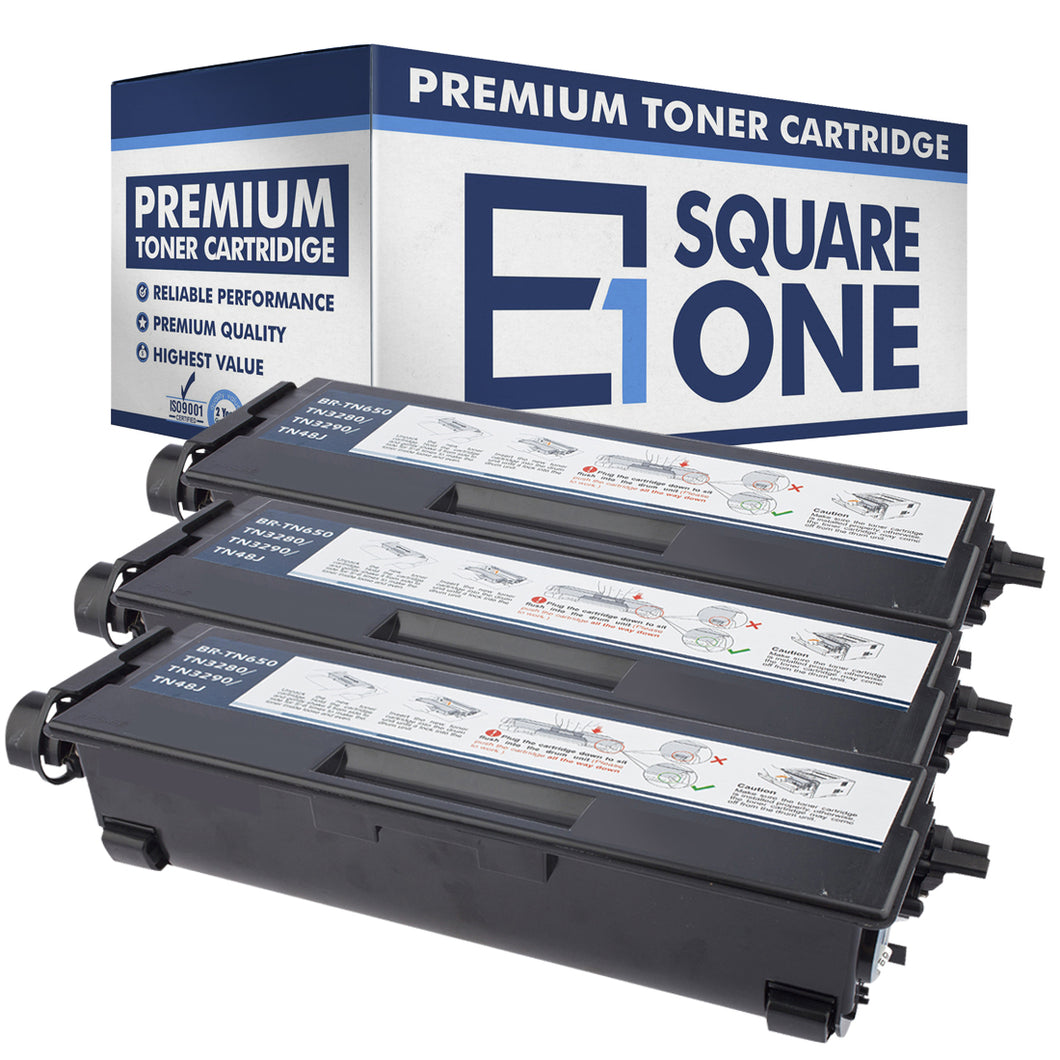 eSquareOne Compatible High Yield Toner Cartridge Replacement for Brother TN650 TN620 (Black, 3-Pack)
