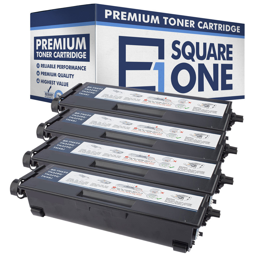 eSquareOne Compatible High Yield Toner Cartridge Replacement for Brother TN650 TN620 (Black, 4-Pack)
