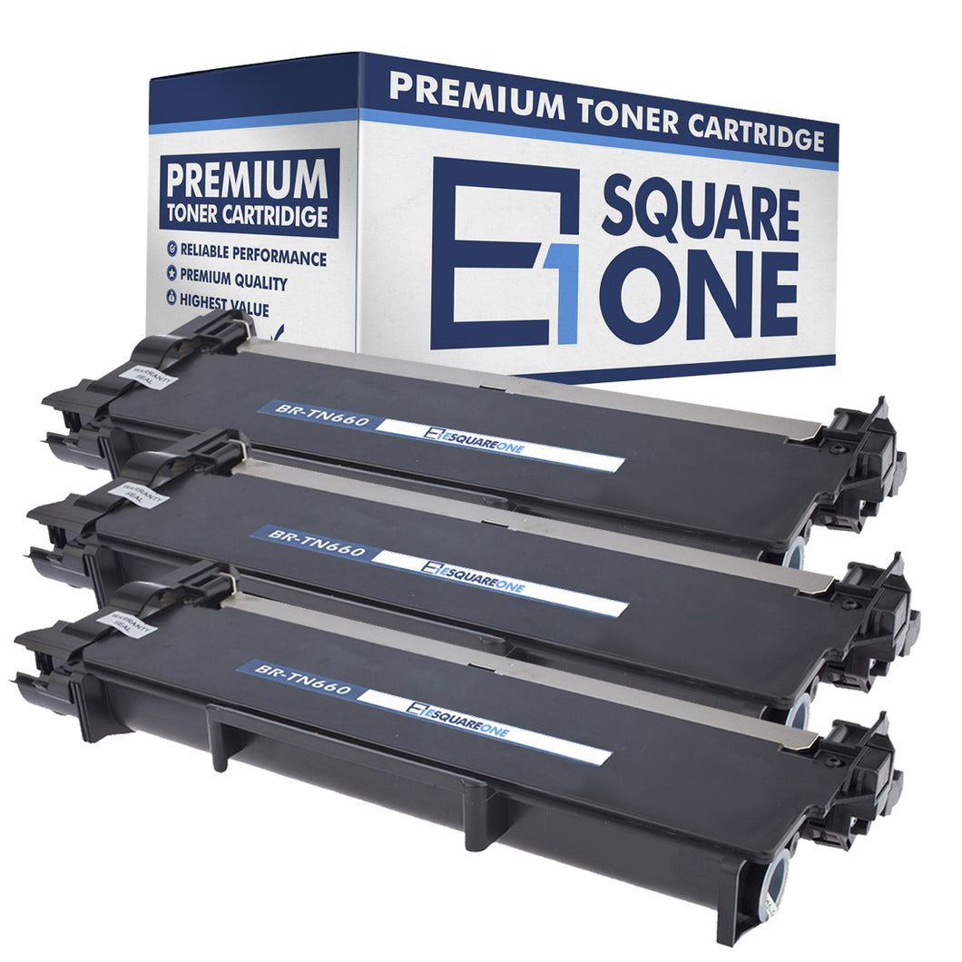 eSquareOne Compatible High Yield Toner Cartridge Replacement for Brother TN660 TN630 (Black, 3-Pack)