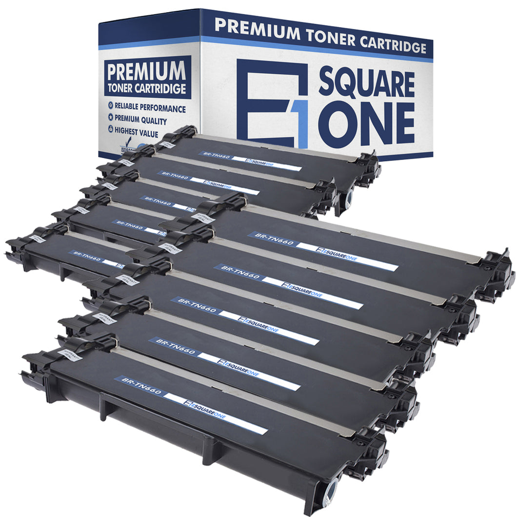 eSquareOne Compatible High Yield Toner Cartridge Replacement for Brother TN660 TN630 (Black, 10-Pack)