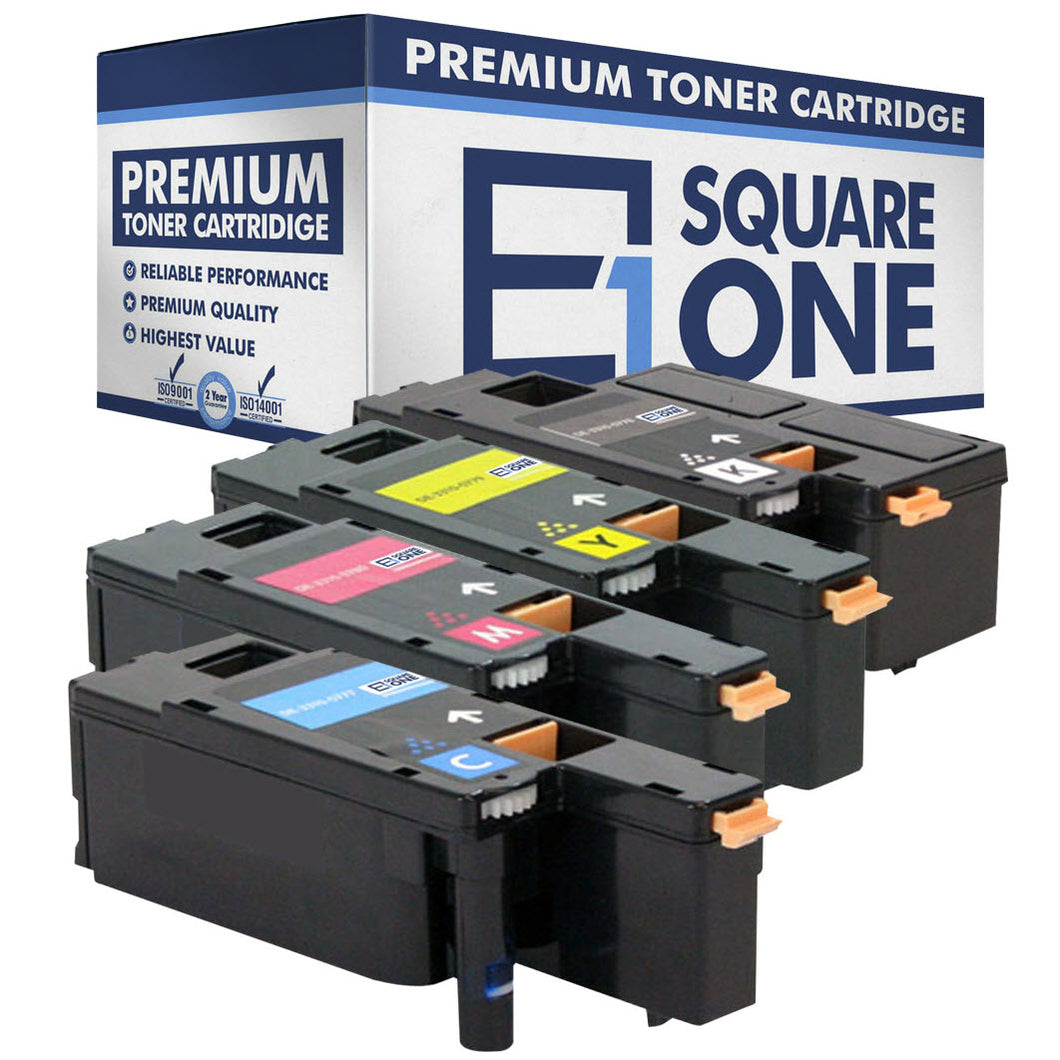eSquareOne Compatible (High Yield) Toner Cartridge Replacement for DELL 331-0778 331-0777 331-0780 331-0779 (Black, Cyan, Magenta, Yellow)