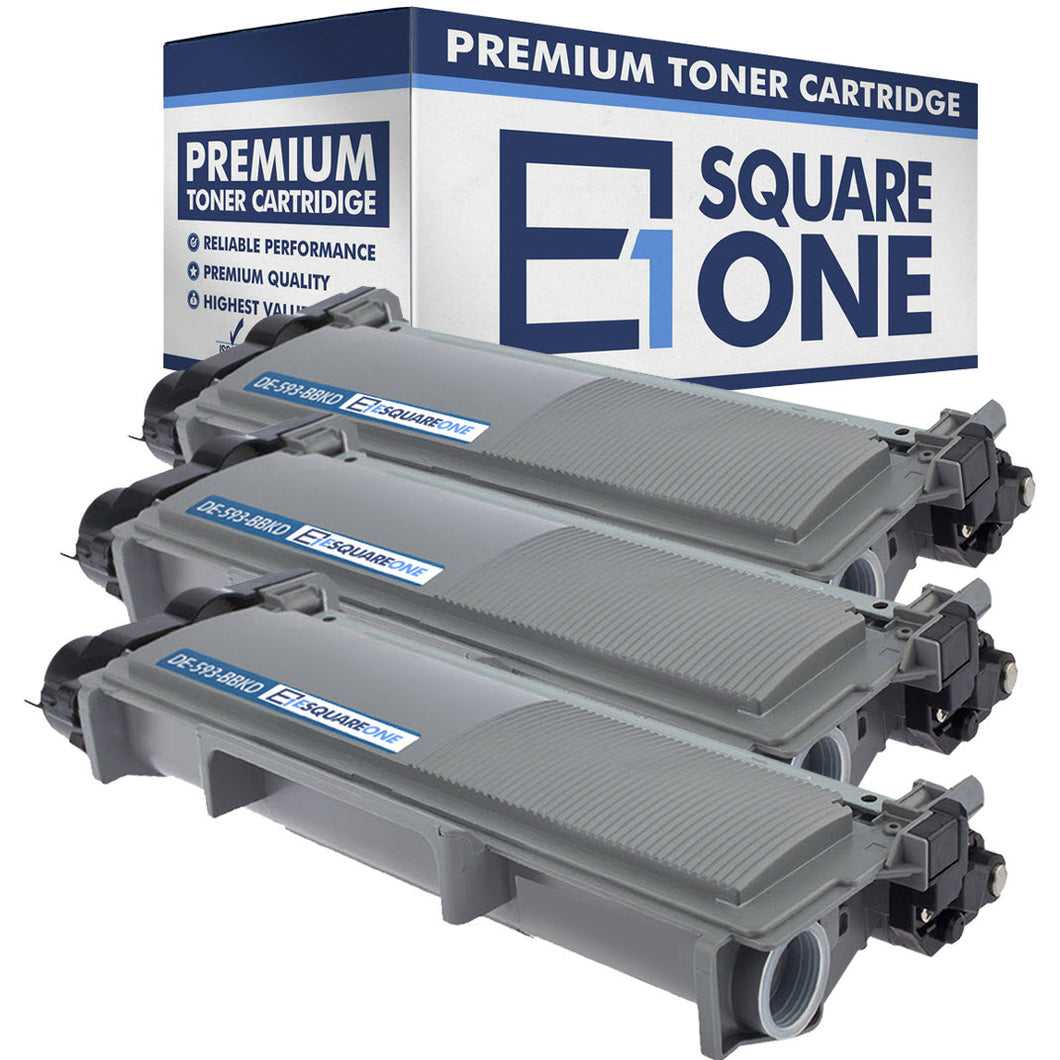 eSquareOne Compatible High Yield Toner Cartridge Replacement for DELL 593-BBKD PVTHG 593-BBKC 2RMPM (Black, 3-Pack)