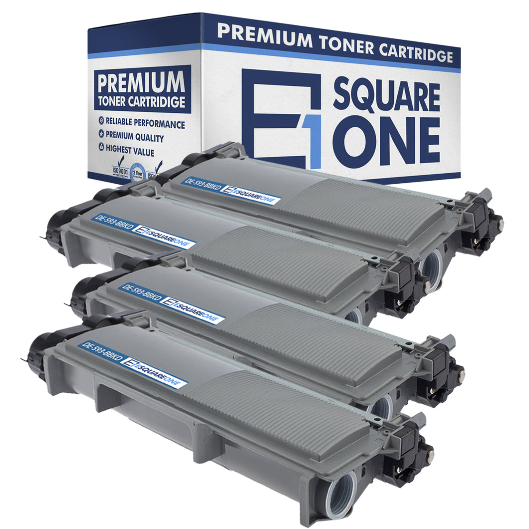 eSquareOne Compatible High Yield Toner Cartridge Replacement for DELL 593-BBKD PVTHG 593-BBKC 2RMPM (Black, 4-Pack)