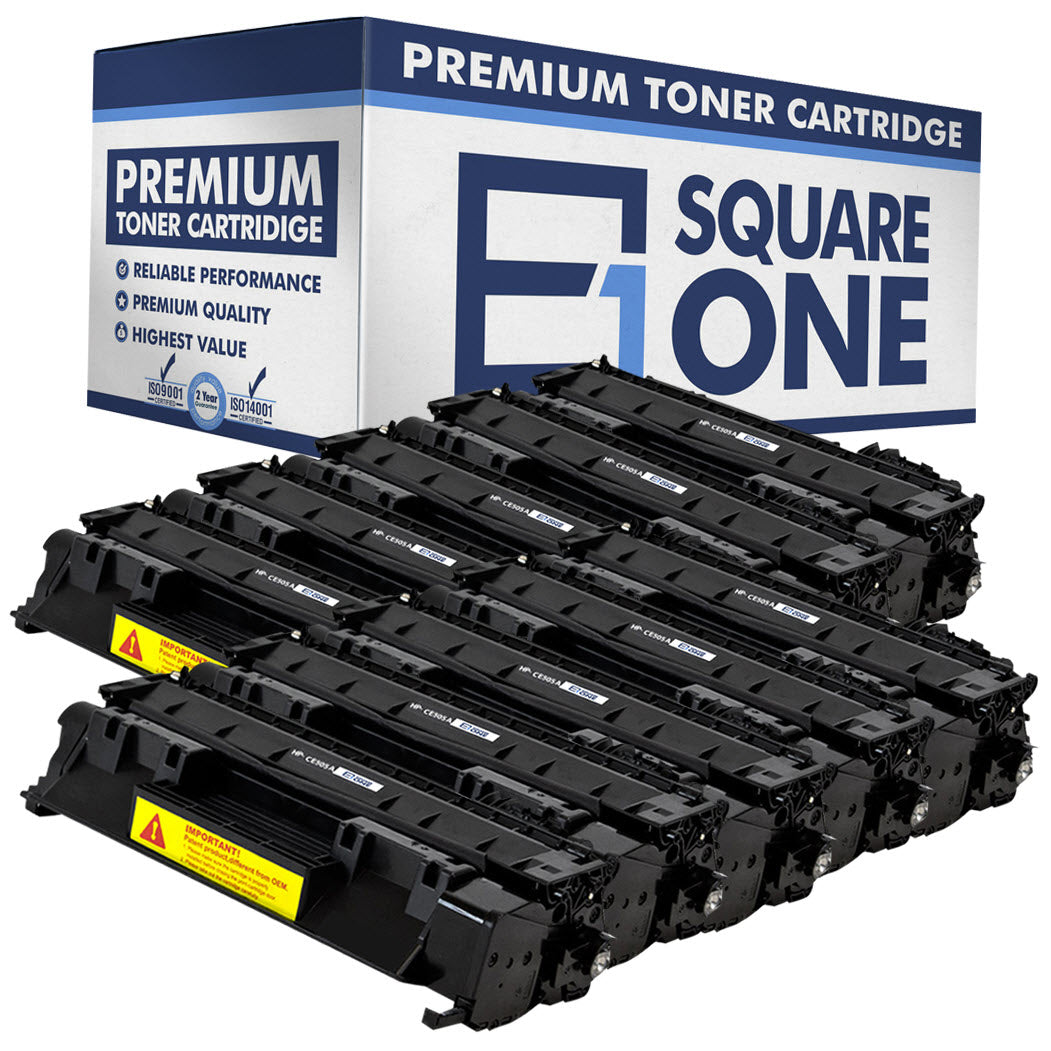 eSquareOne Compatible Toner Cartridge Replacement for HP 05A CE505A (Black, 10-Pack)