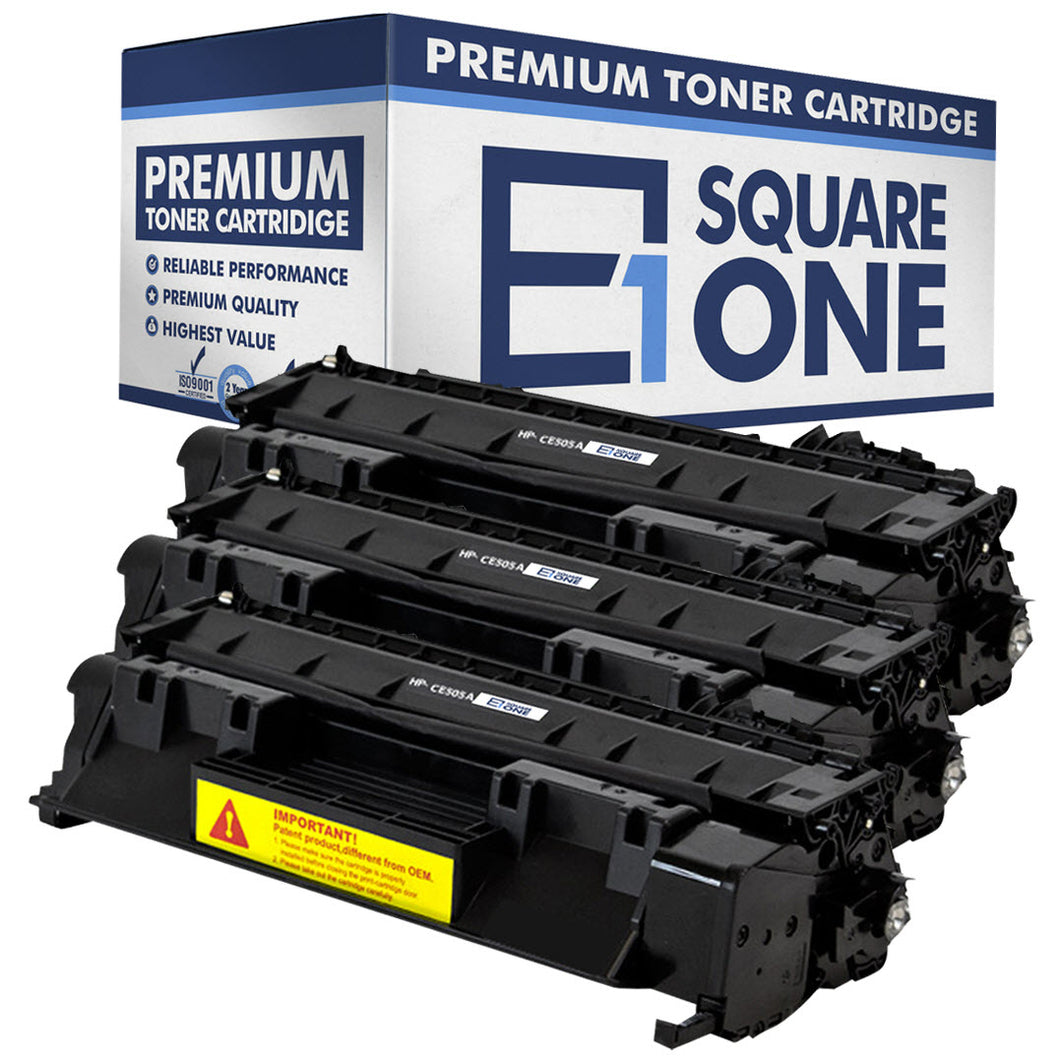 eSquareOne Compatible Toner Cartridge Replacement for HP 05A CE505A (Black, 3-Pack)
