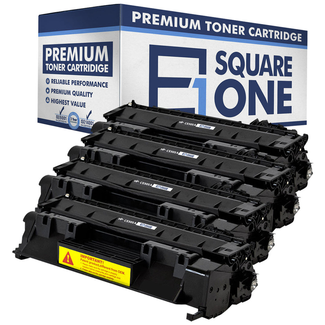 eSquareOne Compatible Toner Cartridge Replacement for HP 05A CE505A (Black, 4-Pack)