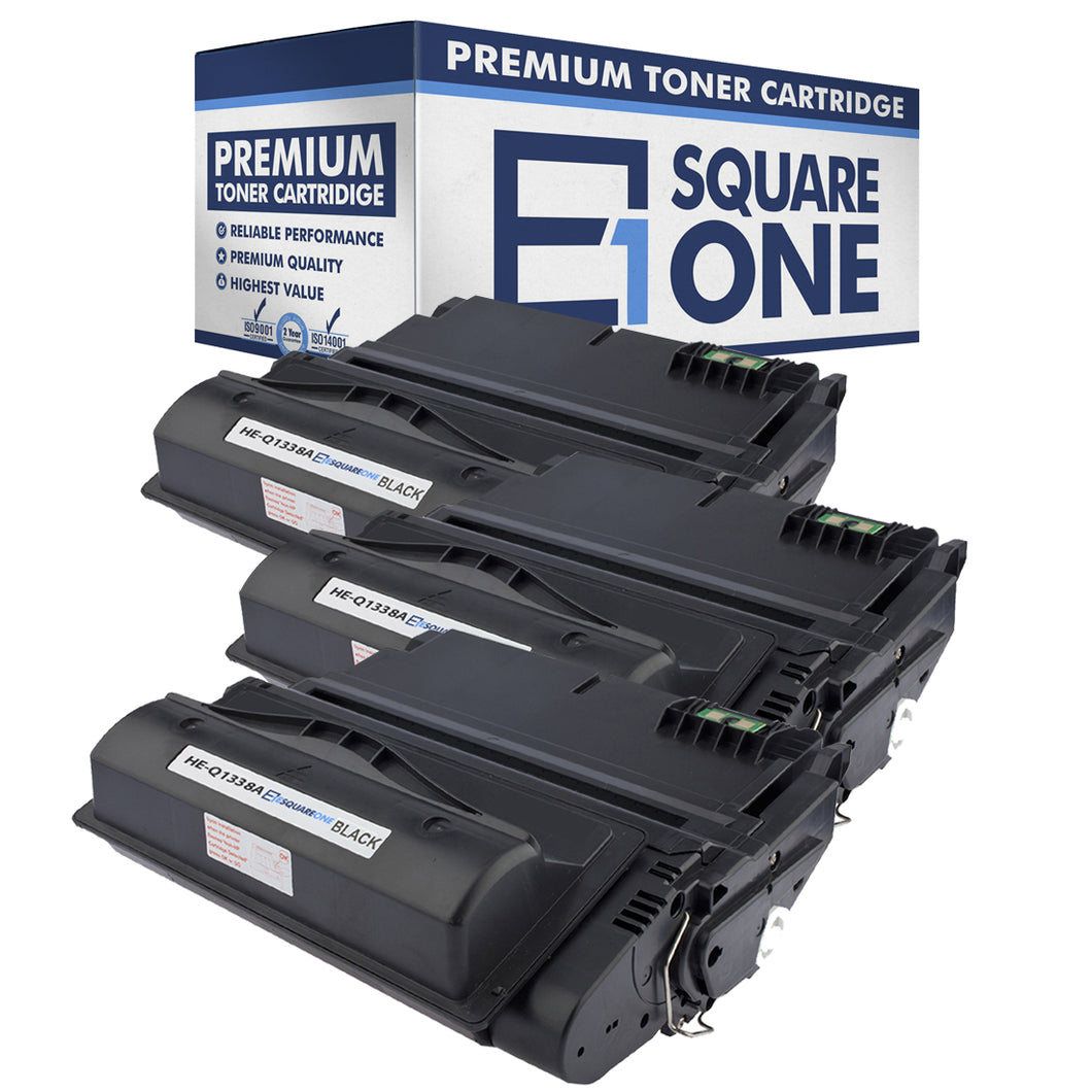eSquareOne Compatible Toner Cartridge Replacement for HP 38A Q1338A | 42A Q5942A (Black, 3-Pack)