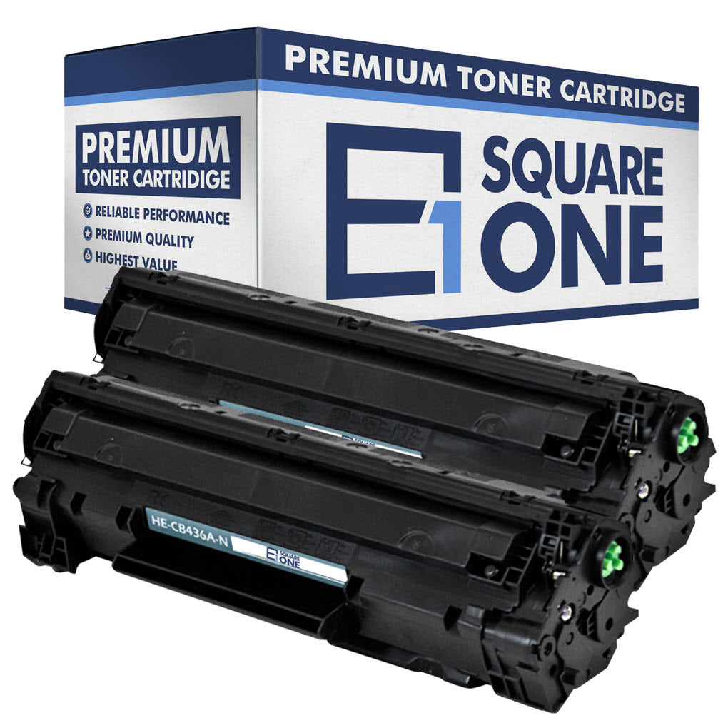 eSquareOne Compatible Toner Cartridge Replacement for HP 36A CB436A (Black, 2-Pack)