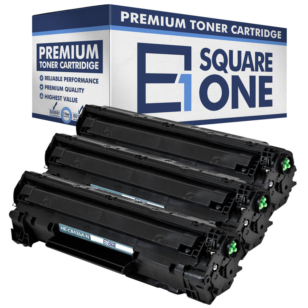 eSquareOne Compatible Toner Cartridge Replacement for HP 36A CB436A (Black, 3-Pack)