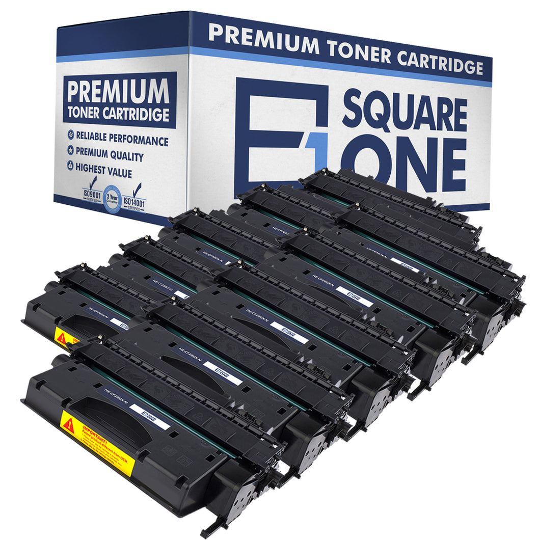 eSquareOne Compatible High Yield Toner Cartridge Replacement for HP 80X CF280X (Black, 10-Pack)