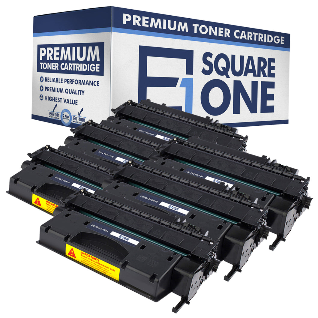 eSquareOne Compatible High Yield Toner Cartridge Replacement for HP 80X CF280X (Black, 6-Pack)