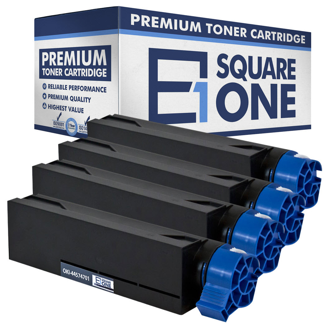 eSquareOne Compatible Toner Cartridge Replacement for Okidata 44574701 (Black, 4-Pack)