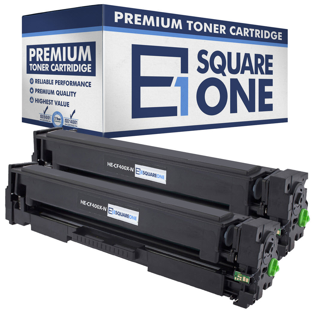 eSquareOne Compatible High Yield Toner Cartridge Replacement for HP 201X CF400X (Black, 2-Pack)