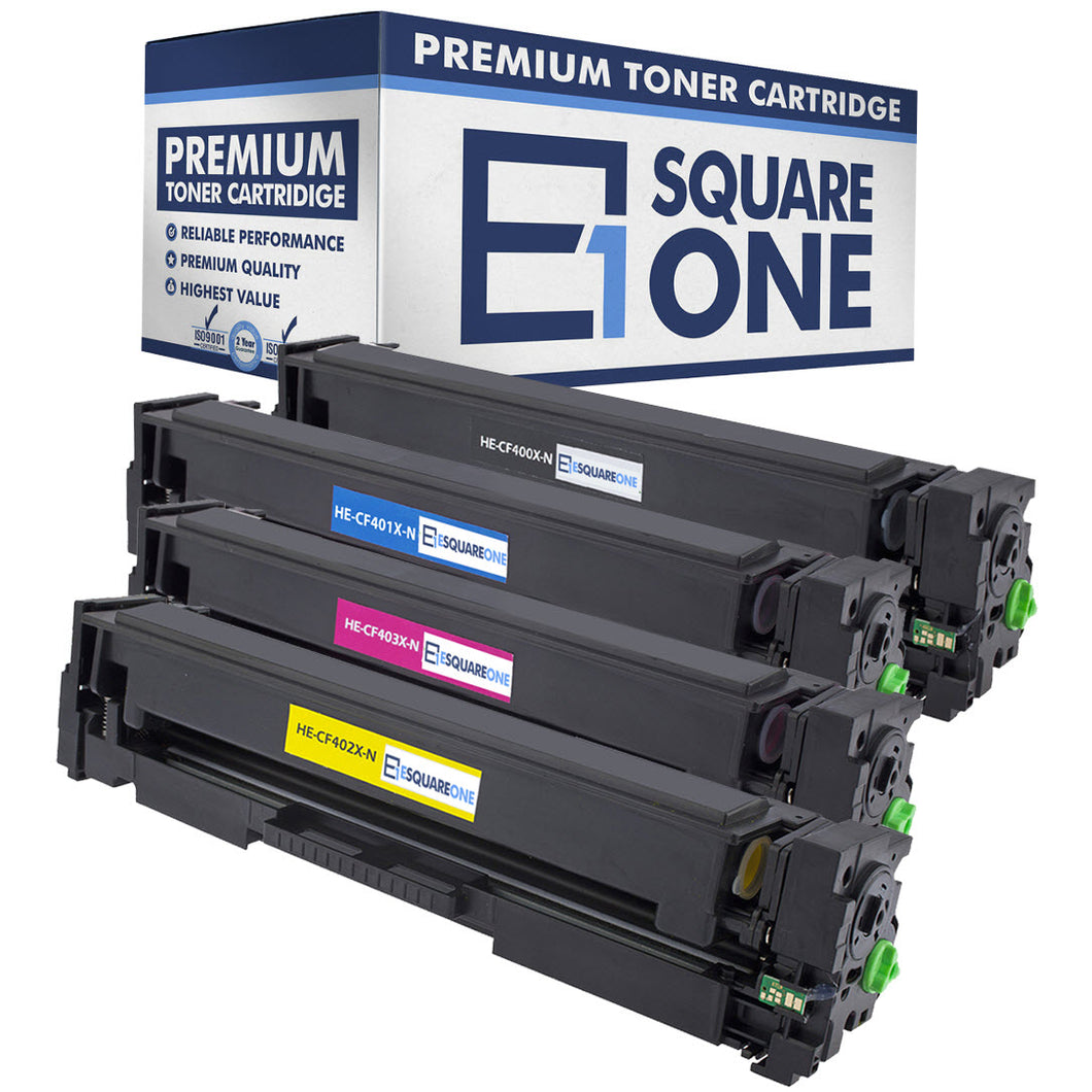 eSquareOne Compatible High Yield Toner Cartridge Replacement Set for HP 201X CF400X CF401X CF402X CF403X (Black, Cyan, Yellow, Magenta)