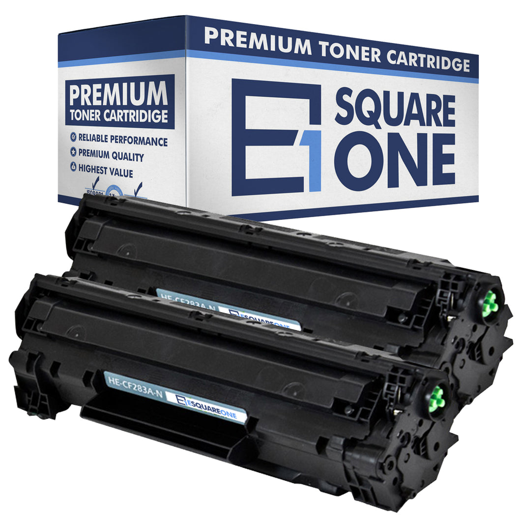 eSquareOne Compatible Toner Cartridge Replacement for HP 83A CF283A (Black, 2-Pack)