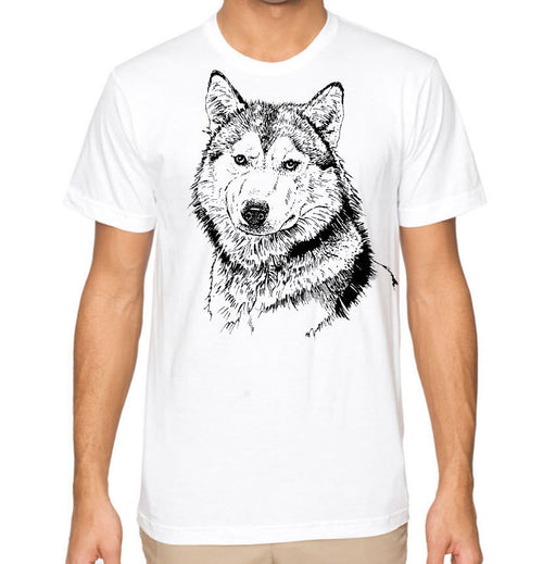 Graphic Husky Dog Men's T-Shirt Cool T Shirt