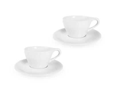 LINO Double Cappucino Cup_Saucer, Set of 2