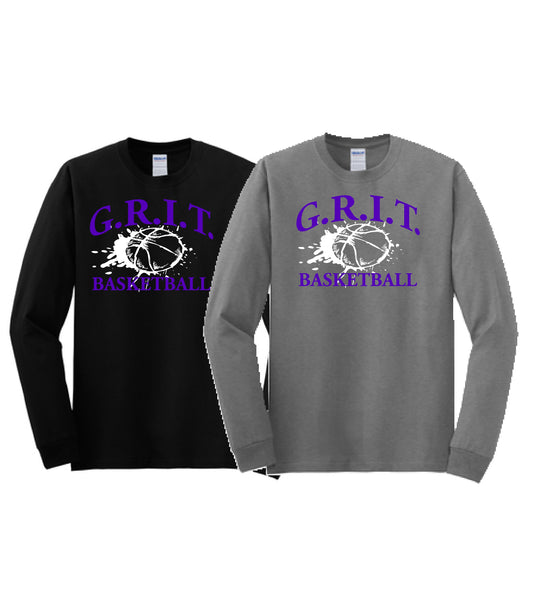 G.R.I.T. Basketball Gildan® Youth Heavy Cotton™ 100% Cotton Long Sleeve T-Shirt (Design1)