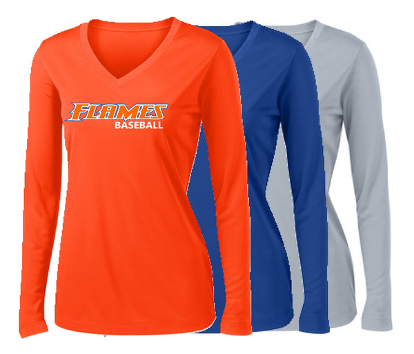 Flames Baseball Sport-Tek® Ladies Long Sleeve PosiCharge® Competitor™ V-Neck Tee