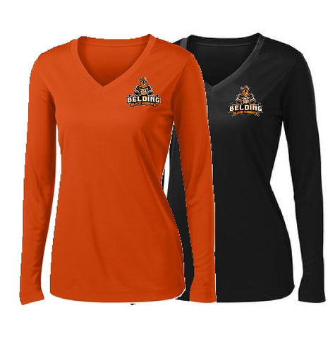 Belding Black Knights Sport-Tek® Ladies Long Sleeve PosiCharge® Competitor™ V-Neck Tee