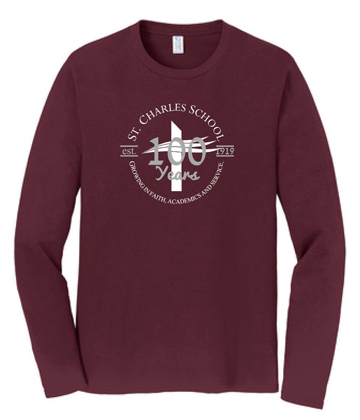 St. Charles School Centennial ADULT L/S Tee
